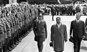 Ahmadou Ahidjo, President of Cameroon, with Willy Brandt on a state visit to Germany, 6 May 1963