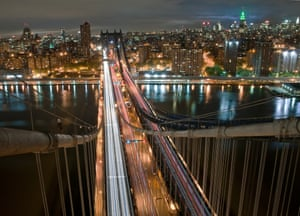 View from the top of the Manhattan Bridge, which she scaled alone at night in New York City.