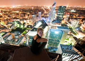 On top of the Carpe Diem building at night in the central business district of Paris, France.
