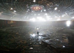 In the ruins of the Bulgarian Communist Party headquarters in Mount Buzludzha, Bulgaria.