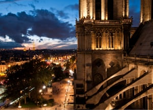 Notre Dame cathedral at night.