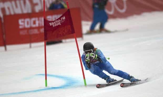 Gold medalist Tina Maze of Slovenia competes during the women's giant slalom in Sochi.