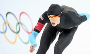 Emery Lehman of the USA in action during the men's 10,000m speed skating at the Sochi 2014 Olympic Games.
