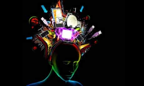 Woman with various technology items coming from her head. Image shot 2011. Exact date unknown.
