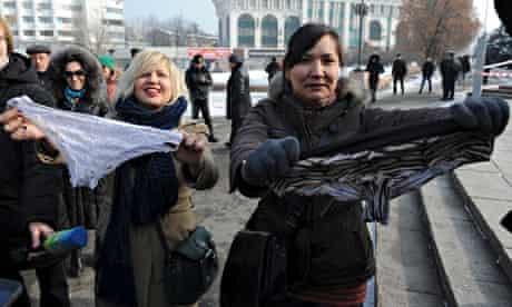 Underwear protest Almaty Kazakhstan