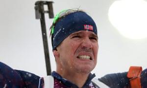 Emil Hegle Svendsen of Norway after he won the biathlon men's 15km mass start at the Sochi 2014 Olympics.