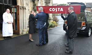 'Costa' Karen Lloyd is carried to her funeral in a coffin celebrating her favourite coffee shop.