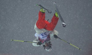Nils Lauper of Switzerland competes in the Freestyle Skiing Men's Ski Halfpipe Qualification.