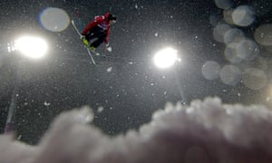 Kevin Rolland of France competes in the Freestyle Skiing Men's Ski Halfpipe Qualification at the 2014 Winter Olympics.