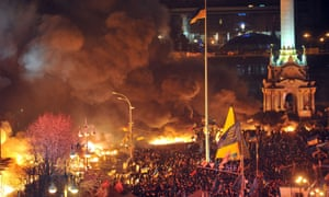 An elevated view of Kiev's Independence Square this evening.
