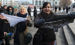 Women during a protest against the ban of lace underwear in Almaty, Kazakhstan.