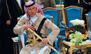 Prince Charles sword dance in Saudi Arabia