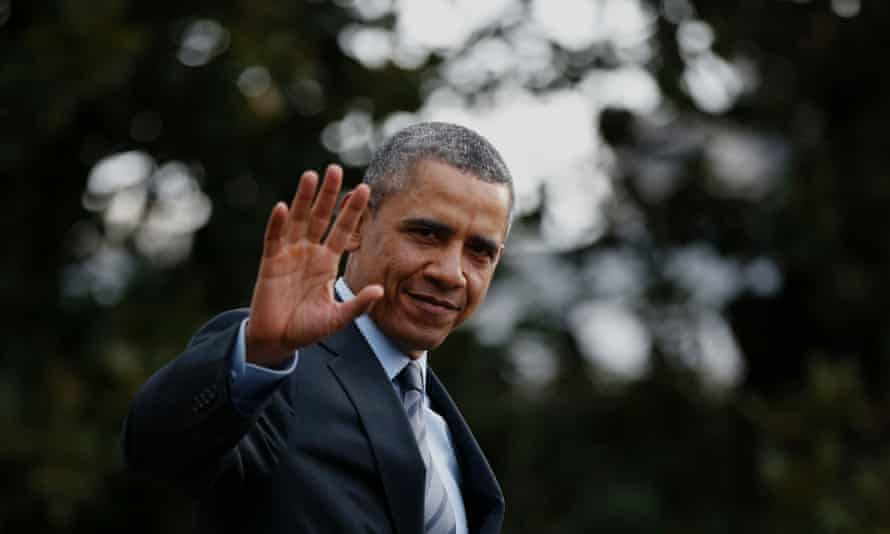 President Barack Obama on the south lawn of the White House departing for his trip to Mexico.