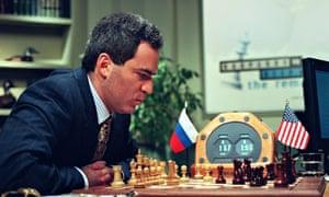 Garry Kasparov ponders a move against IBM's Deep Blue. Kurzweil predicted the computer's triumph.