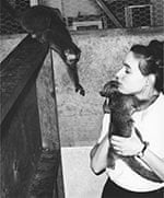 Alison Jolly in 1961, with a lemur and a kinkajoo