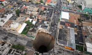 A sinkhole at a street intersection in Guatemala City