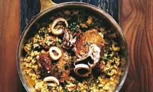 Jason Atherton's paella of chicken, squid and chorizo
