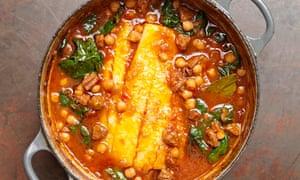 Tom Kerridge's pot-roasted pollock, chickpeas and chorizo