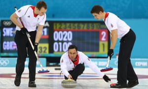 David Murdoch of Great Britain releases the stone during the men's semi-final match between Sweden and Great Britain.