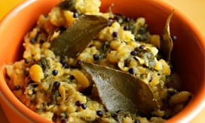 Mung beans and spinach dish