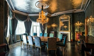 The dining room in Audley House, Mayfair, London