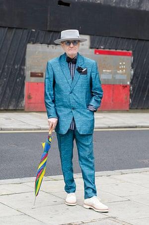 Older Models - Weekend : man in blue suit and grey hat