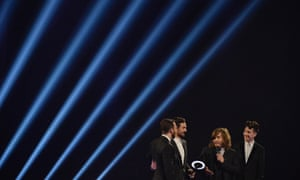 Bastille after being presented with the British Breakthrough Act award.