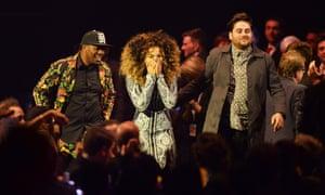 Ella Eyre, DJ Locksmith and Kesi Dryden of Rudimental react to their British Single Award. Photograph: Dave J Hogan/Getty Images