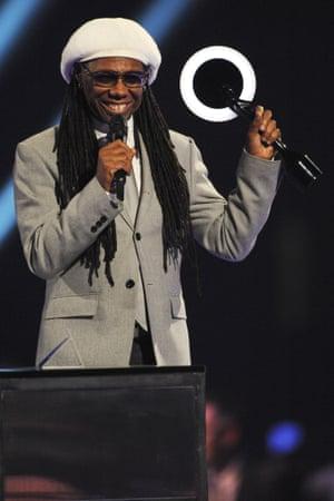 Nile Rodgers accepts Daft Punk's International Group Award.