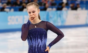 Julia Lipnitskaya of Russia leaves the ice after after falling in her routine in the women's short program figure skating competitio during the 2014 Winter Olympics.