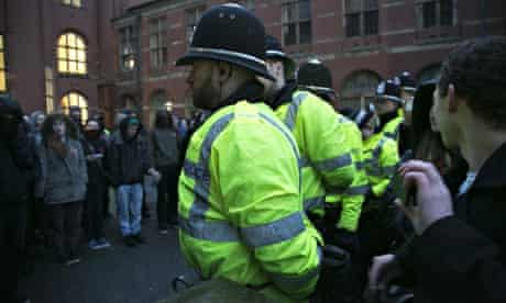 Police and students at Birmingham university