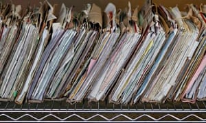 Old-style NHS medical records.