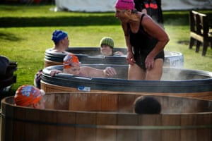 Competitors make use of hot tubs.