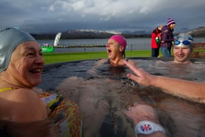 Close comfort: competitors recover in the hot tubs after their races.