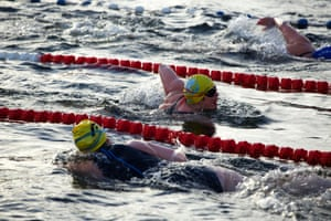 Competitors did not wear wetsuits despite the cold temperatures.