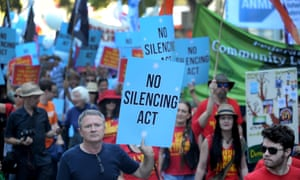 Protesters in Melbourne against Victoria's new summary offences and sentencing amendment bill