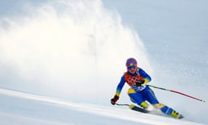 Ukraine's Bogdana Matsotska skis during the women's alpine skiing Super-G competition before pulling out of the Sochi games in protest at the violent crackdown in Kiev.