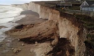 Storm damage at the Birling Gap National Trust coastal property