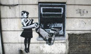 US Money BANKSY street art child ATM machine