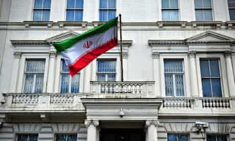 The Iranian flag hangs outside the Iranian embassy