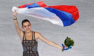 Russia's Adelina Sotnikova celebrates winning gold.