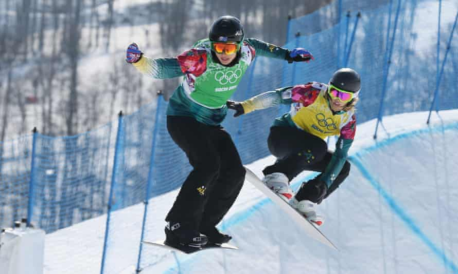 Belle Brockhoff, left, and Torah Bright competing in Sochi.