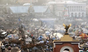 An aerial view shows the anti-government protesters camp in Independence Square in central Kiev