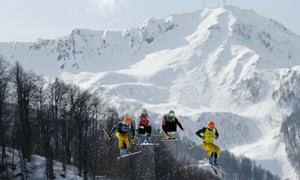 Andreas Schauer, Didrik Bastian Juell, Filip Flisar and Florian Eigler compete during the men's Freestyle Skiing Men's Ski Cross Quarter Finals.