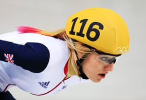 Elise Christie of Great Britain competing in the women's 1,000m short-track skating heats.