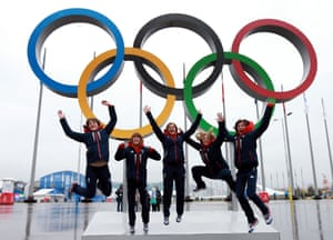 Great Britain's bronze medal-winning curling rink – Lauren Gray, Claire Hamilton, Vicki Adams, Anna Sloan and Eve Muirhead – in Sochi's Olympic Park.