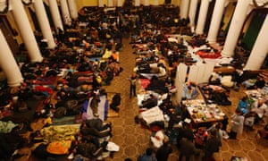 Anti-government protesters sleep in City Hall in Kiev February 21, 2014.