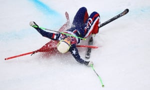 Stephanie Joffroy of Chile crashes in the Freestyle Skiing Womens' Ski Cross Seeding at the 2014 Winter Olympics.