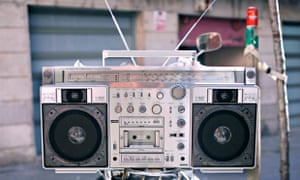 retro boombox in an urban setting