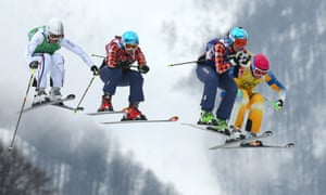 Ophelie David of France, Kelsey Serwa of Canada, Marielle Thompson of Canada and Anna Holmlund of Sweden compete in the Freestyle Skiing Womens' Ski Cross Final.